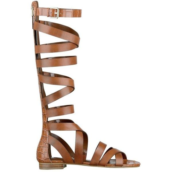 GUESS Alina Flat Gladiator Sandals ($90) ❤ liked on Polyvore featuring shoes, sandals, flats, brown, gladiator sandals, crocs sandals, flat pumps, open toe flats and brown sandals