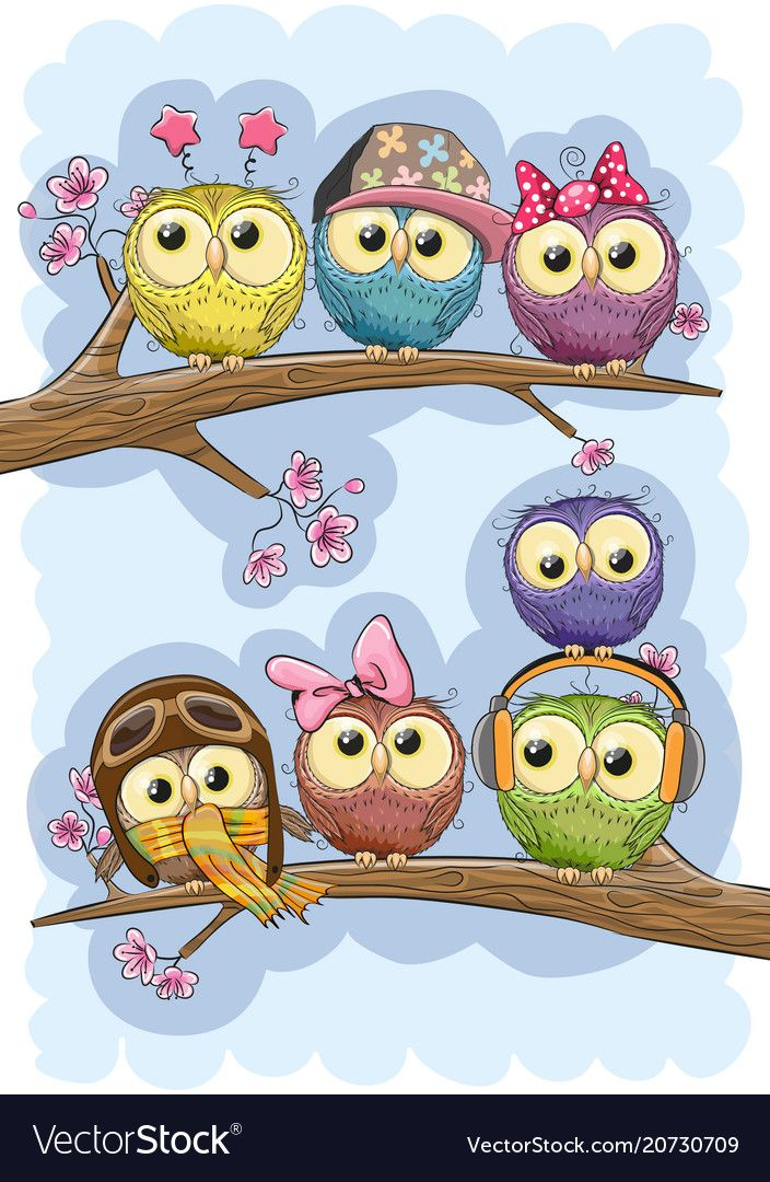 Seven Cute Owls Is Sitting On A Branches Download A Free Preview Or High Quality Adobe Illustrator Ai Eps Pdf And H Owl Clip Art Cute Drawings Whimsical Art