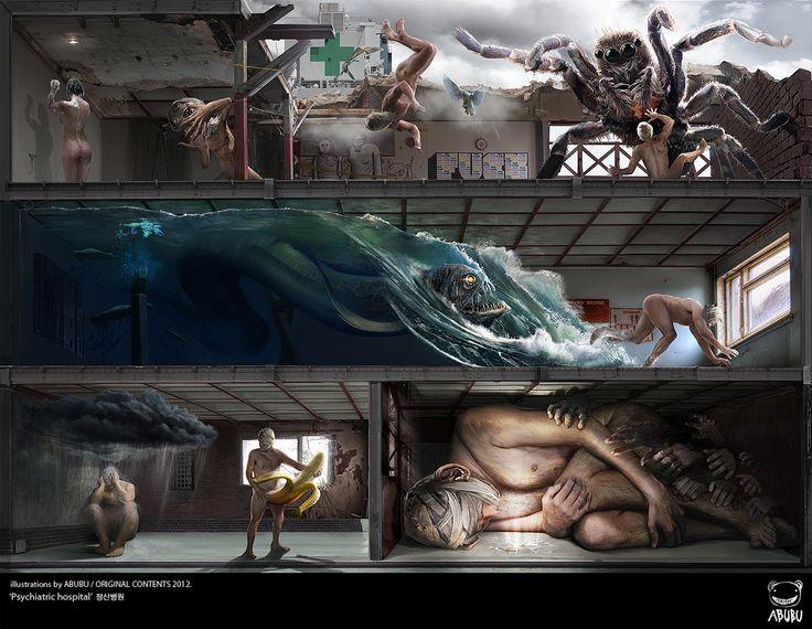 """Psychiatric hospital"" 정신병원 illustration by ABUBU/ ORIGINAL CONTENT2012.  관음증,고소공포증,벌레공포증,심해공포증,우울증,노출증,폐소(쇠)공포증"