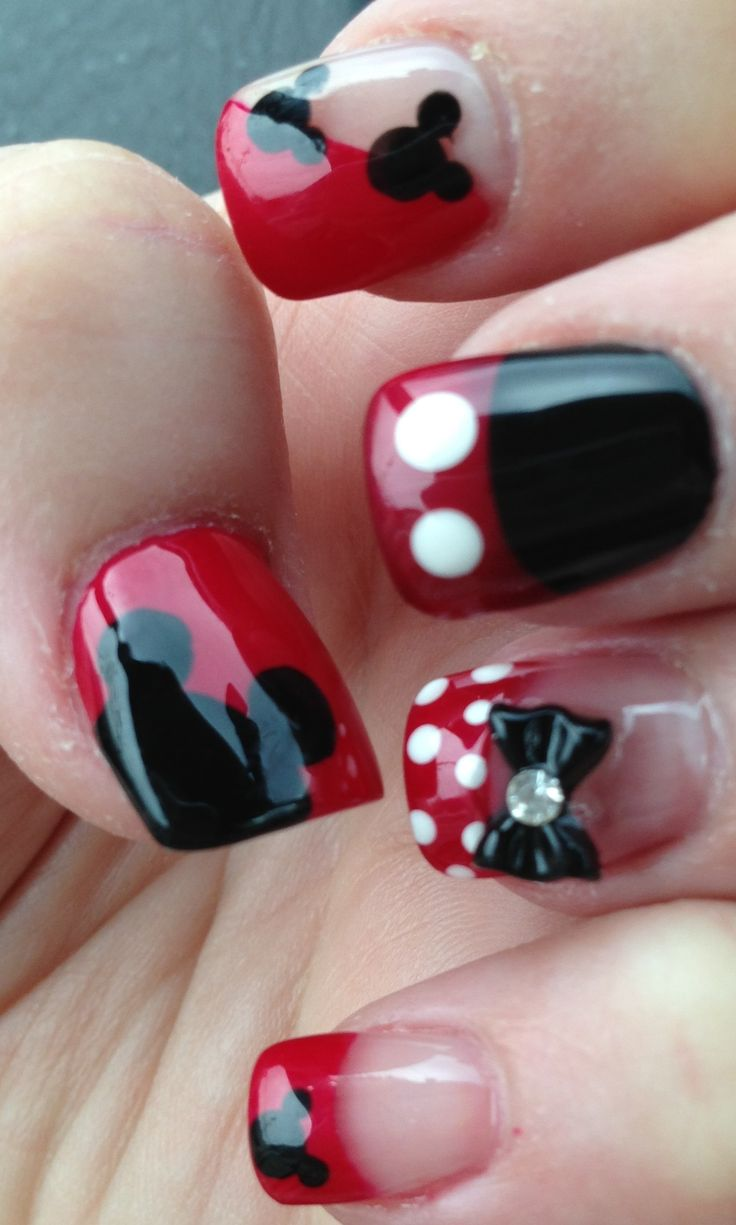 Minney mouse nail art. Love these ....Pretty and cute. Love the gloss.