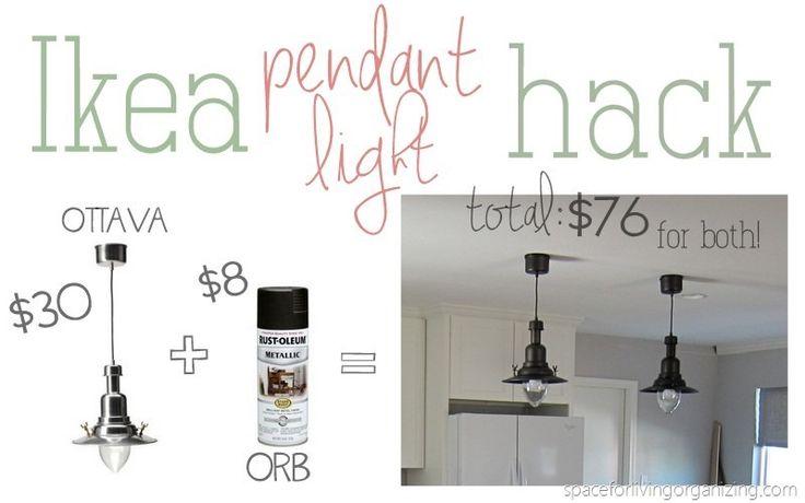 Ikea pendant light hack.  Paint them black (or oil rubbed bronze) $30 each