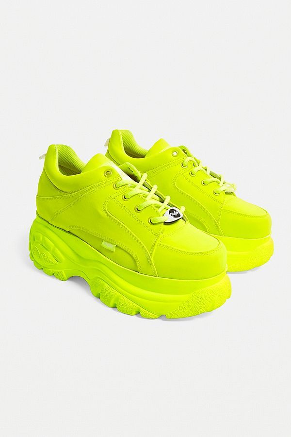 Buffalo Neon Yellow Leather Platform Trainers in 2020 | Neon