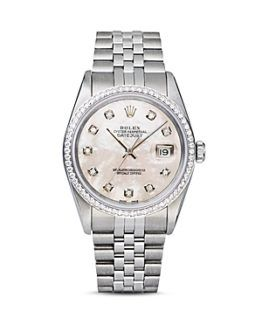 Rolex 18K White Gold Diamond Pearl Ladies Watch