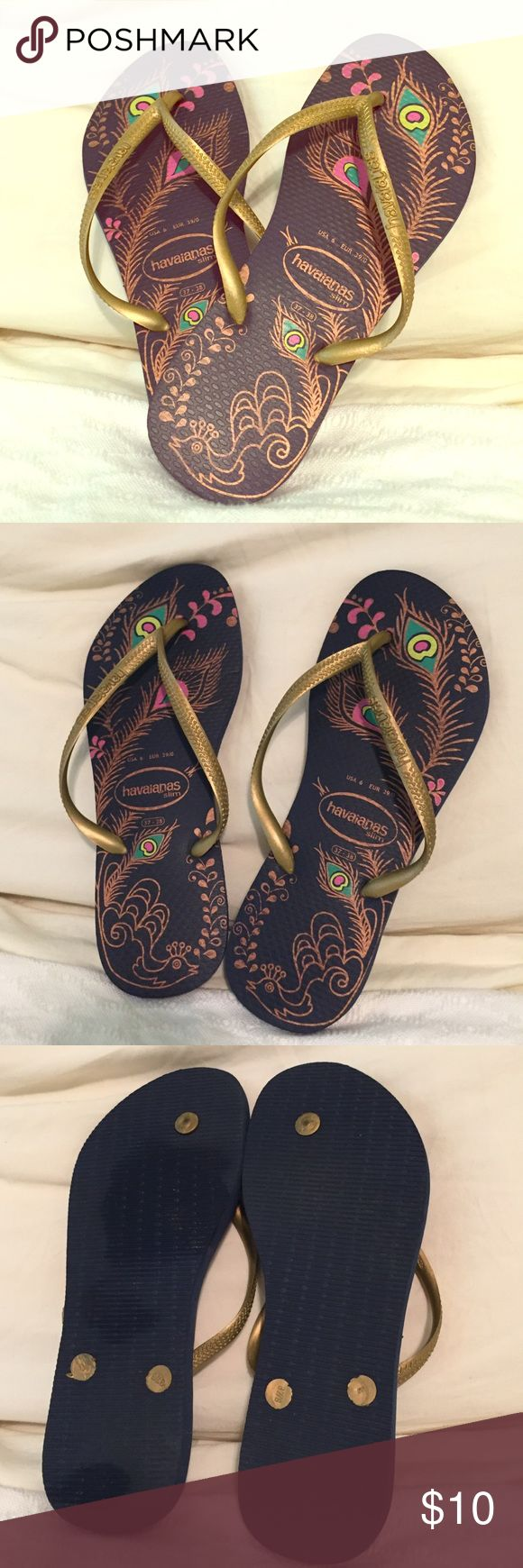 Like new navy print size 6 havaianas slim Excellent condition, unique print navy and gold havaianas slim. Havaianas Shoes Flats & Loafers