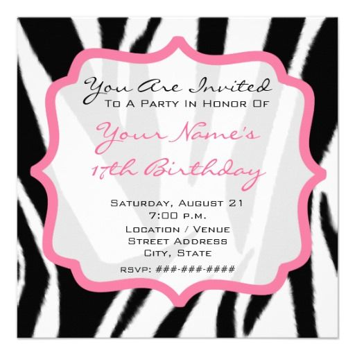 396 best Pink Birthday Party Invitations images – Zebra Party Invitations