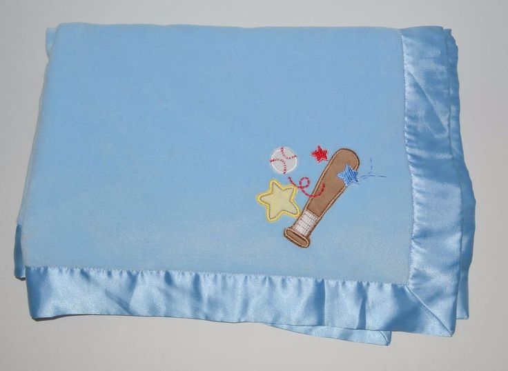 Circo Baseball Baby Blanket Blue Satin Bat Ball  #Circo