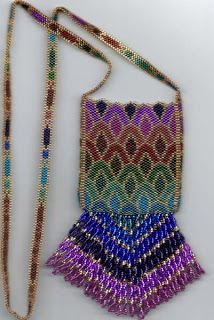 Seed Bead Amulet Bags Instructions | Amulet Bag Brick Stitch Seed Bead Super Fringed Bag Dark Blue