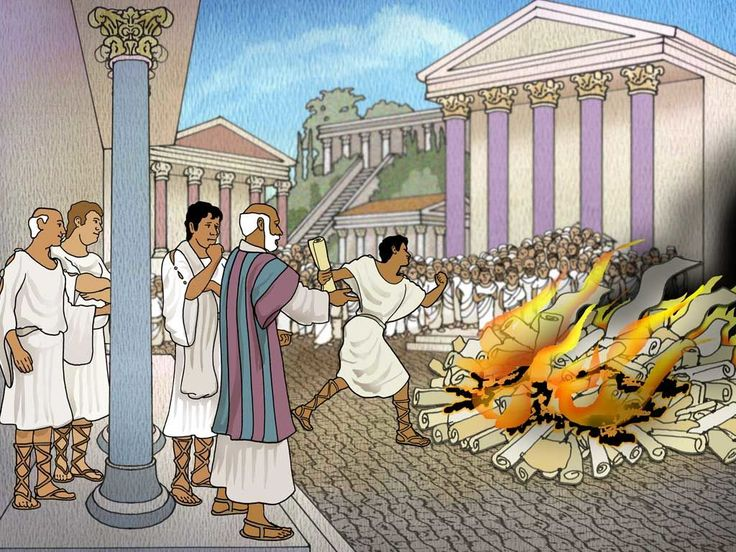 Free visuals with map:  Paul in Ephesus  Paul preaches in Ephesus and many repent and burn their books on magic. Acts 19:1-41
