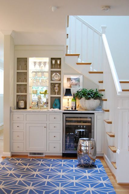 Love the use of the space under the stairs.Kitchens, Spaces, Ideas, S'Mores Bar, Basements Bar, Understairs, Wet Bars, Bar Area, Under Stairs