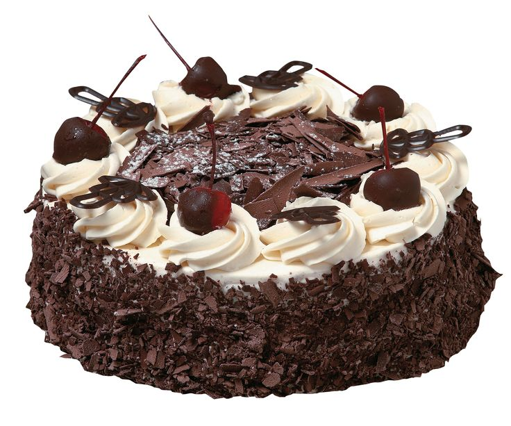 Black Forest torta from Miss Maud Perth - moist chocolate sponge with layers of fresh cream and juicy dark cherries in Kirsch Liqueur, decorated with chocolate flakes, fresh cream swirls and eye catching red and green long stem glacé cherries.