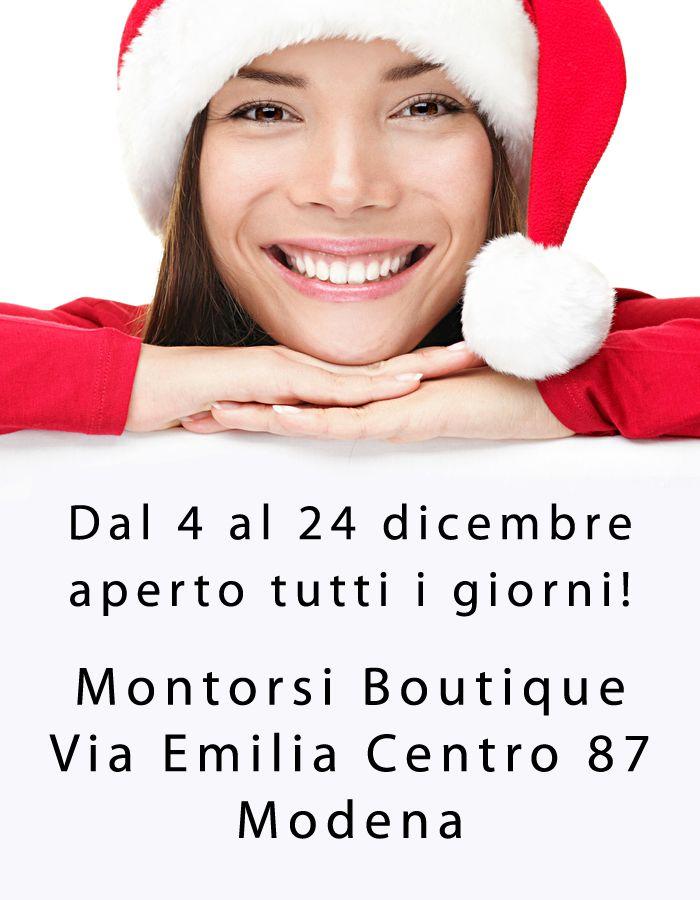 APERTO tutti i giorni fino a NATALE!  Dal 4 al 24 dicembre la Boutique MONTORSI rimarra aperta tutti i giorni … Auguri! Boutique MONTORSI in Via Emilia Centro 87 a Modena. Tel. 059 211321.  #natale #regali #regalinatale #natale2015 #xmas #happyxmas #christmas #abbigliamento #abbigliamentodonna #calzature #calzaturedonna #borse #borsedonna #accessori #accessorimoda #moda #fashion #montorsiboutique #montorsimodena #modena #italy