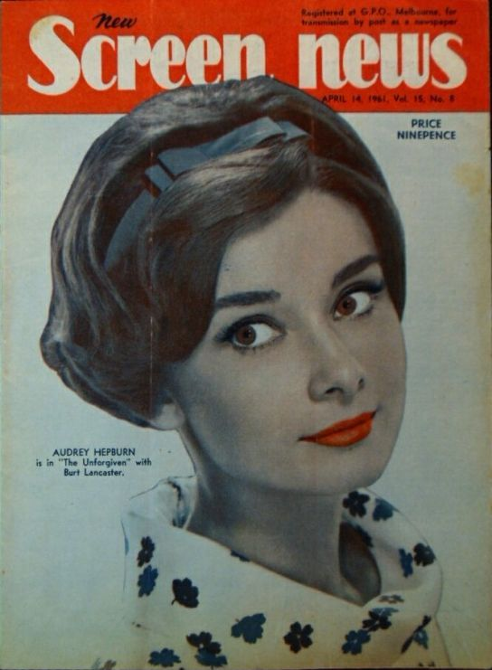 "Audrey Hepburn on the cover of ""New Screen News"", Australia, April 14th 1961."