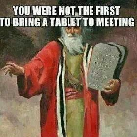 NOO WAAAAY SO FUNNY.. :) Except Moses only had hardware on his.Lol