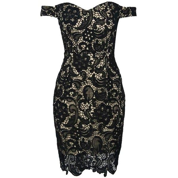 Black Off Shoulder Split Back Lace Bodycon Dress (479.680 IDR) ❤ liked on Polyvore featuring dresses, off shoulder dress, lacy dress, body conscious dress, off the shoulder dress and body con dress
