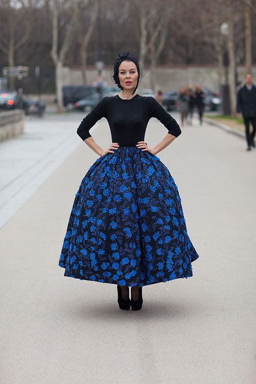 Ulyana Sergeenko in Dior Haute Couture Skirt - Paris Fashion Week Style Fall 2013 - Harper's BAZAAR