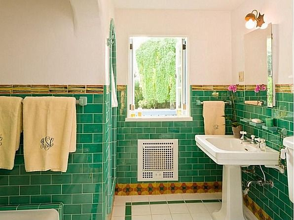 Cary Grant S Former Home In Palm Springs For Sale Green Bathroom Tilesgreen Bathroomsbathroom Ideasgreen