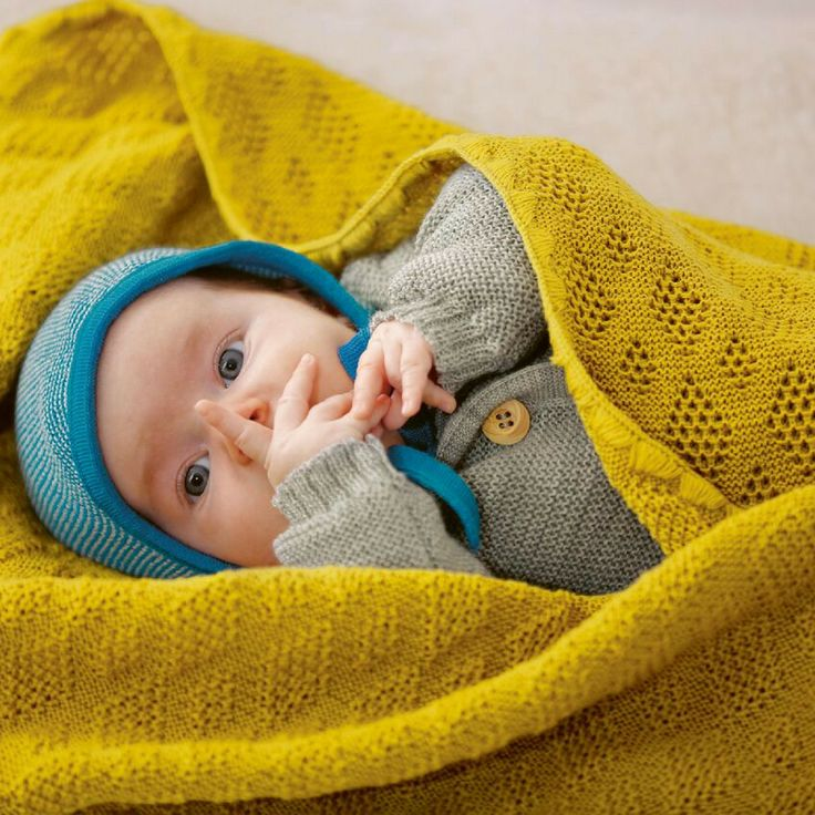 Organic knitted merino wool baby blanket in curry. It doesn't get much better than that. Ethically produced in Germany by Eco fashion label disana