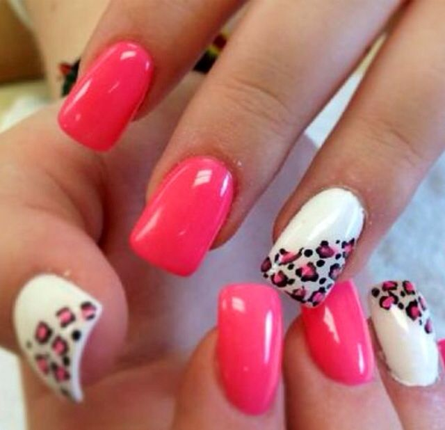 Hot pink with white cheetah print 2016 Gel Nail Trends from Mirror Mirror Salon & Spa in Kelowna, BC.  We specialize in Biosculpture Gel Nails which have a 5 Star safety rating and help maintain the health and integrity of your delicate nails.   #2016nailtrends #kelownanails #kelownagelnails #nailtrends #nailart #gelnails #nailextensions #manicure #manicureideas #kelownaspa #kelownadayspa #nailsalon #biosculpture #biosculpturegel  #style #fashion #mm #nails #nailart #naildesign #gelnails #mm
