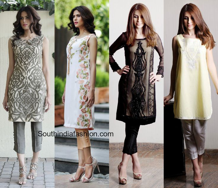 Salwar suits with the cigarette pants, Salwar Kameez with crop pants, cropped…