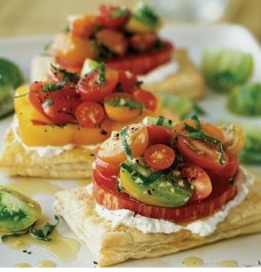 Tomato Tarts with Basil and Fresh Cheese Fresh Goats, Food, Puff ...