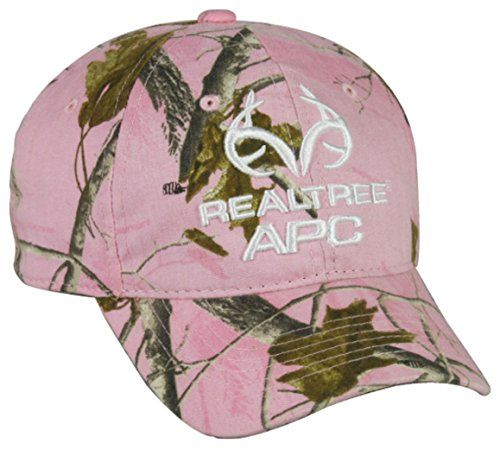 Ladies Realtree APC Pink Camo Hunting Hat. Ladies Realtree APC Logo Pink Camo Hunting Hat. One Size Fits Most. Velcro Closure. Realtree AP Pink Camo. Great Hunting Hat For All Ladies.