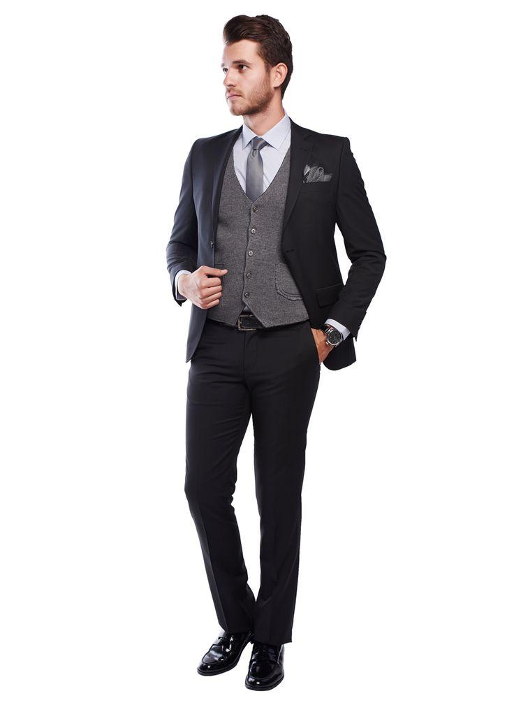 Slim Fit Siyah Takım Elbise - AltınYıldız Classics