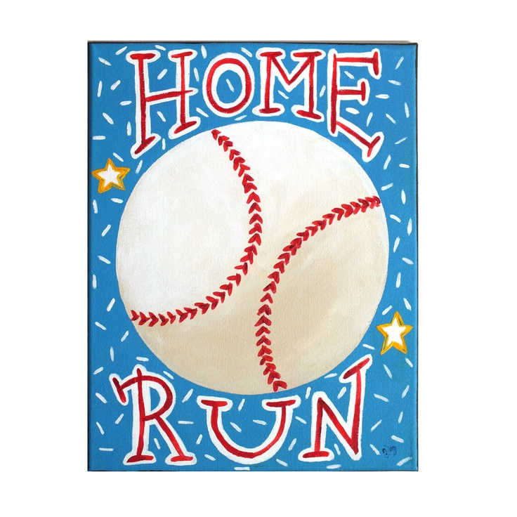 Kids Sports Painting   HOME RUN BASEBALL   11x14 Acrylic Wall Art   Baseball Themed Kids Decor   by nJoy Art, via Etsy.