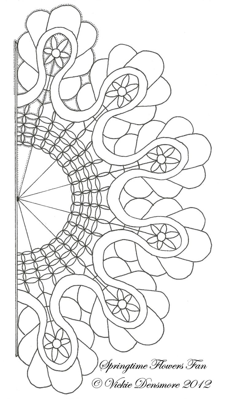 Printable quilt pattern coloring pages - Free Pattern For Springtime Flowers Fan By All Things Parchment Craft Would Make A Great