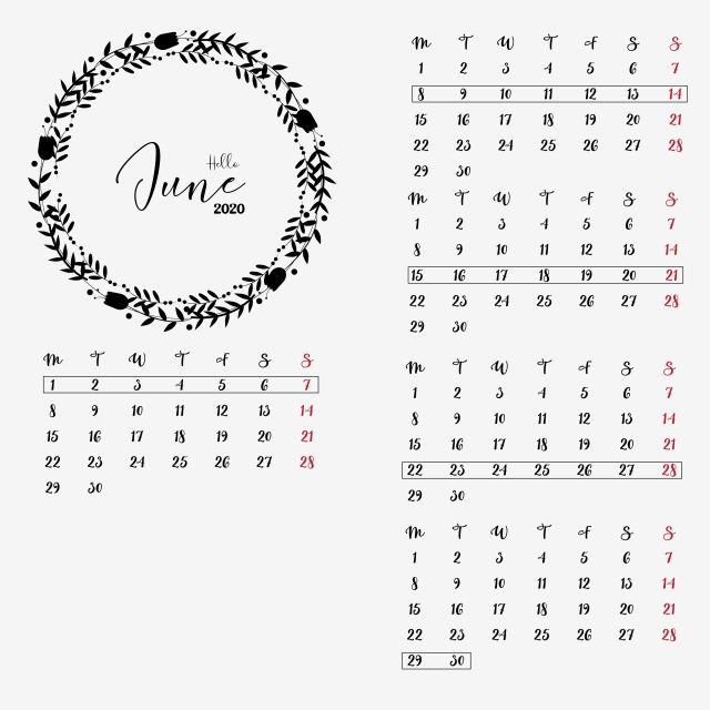 June 2020 Calendar Clipart Vector Png Element Cute Wreathes Journal New Year Png And Vector With Transparent Background For Free Download Calendar Clipart Clip Art Calendar