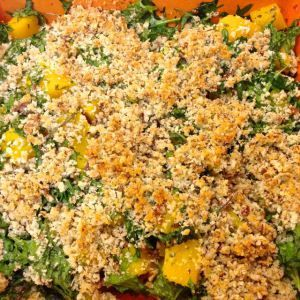 Butternut Squash Gratin with Baby Kale & Pecan ~ super easy side dish with great flavour.