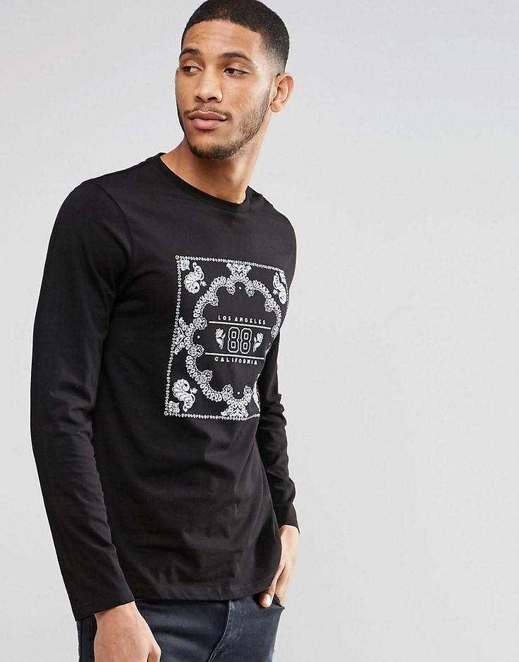 Image 1 of ASOS Long Sleeve T-Shirt With Bandana Print. Estampado De  BandanaBandanasImpresiónTiendasHombresCamisetas Manga Larga