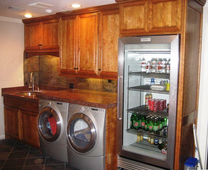 Laundry Room with extra fridge, um yeah!