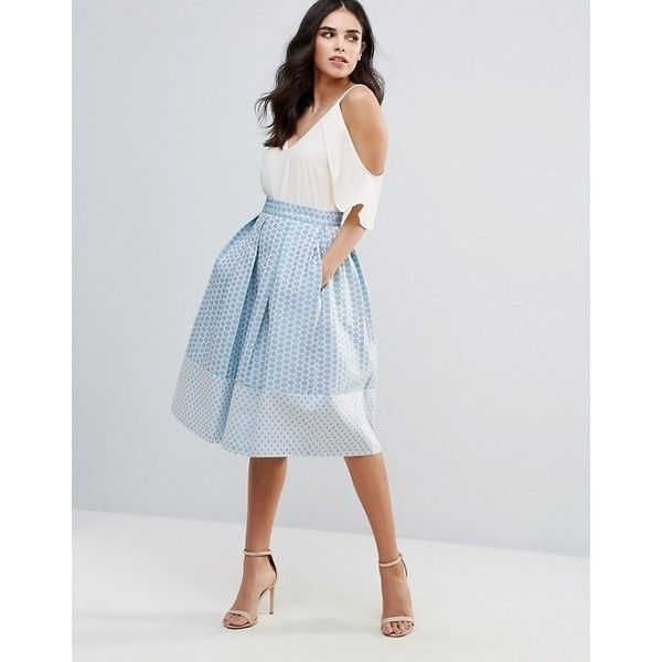 Closet London Skater Midi Skirt ($58) ❤ liked on Polyvore featuring skirts, pleated midi skirt, pleated skirt, bodycon midi skirt, full pleated skirt and knee length skater skirt