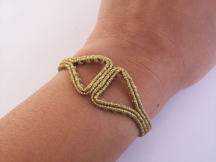 Minimalist gold bangle - Knotted bracelet, gold thread, ancient greek!!