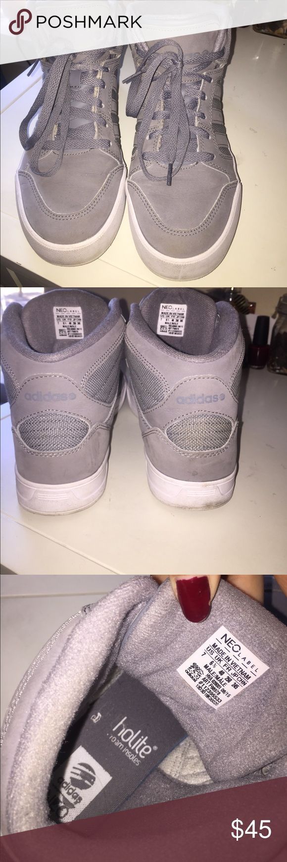 Light grey adidas neo high top Cute adidas neo sneakers for the gym or just casual gym wear! Men's size 7, but I am a women 8 and these fit great. Ortholite soles. These are worn in and still really comfortable! I don't wear them as much as I want that is why I am selling. adidas Shoes Sneakers