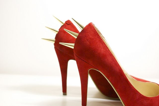 DIY spikey stud heels; click for instructions. I'd love to get smaller spikes and cover the shoe with them, but I don't think I have that kind of patience.