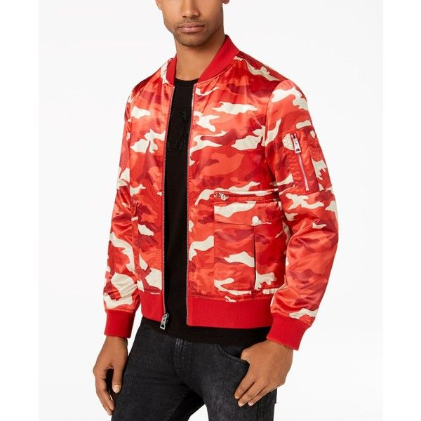 Guess Men's Camo Bomber Jacket ($148) ❤ liked on Polyvore featuring men's fashion, men's clothing, men's outerwear and men's jackets