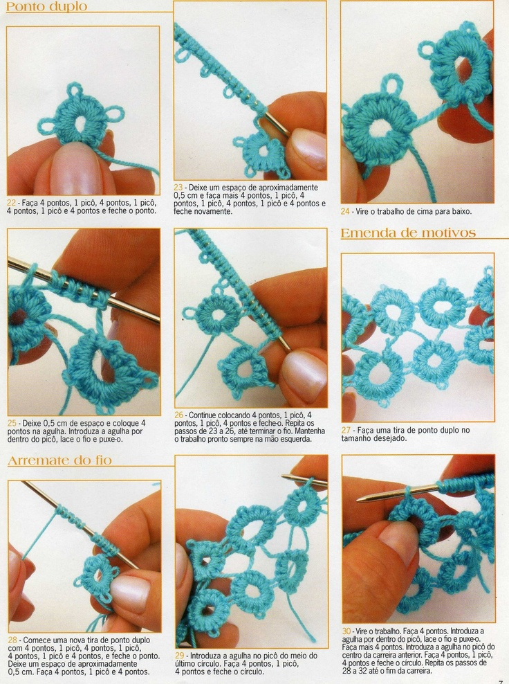 Tatting tutorial -  frivolité passo a passo - step 3