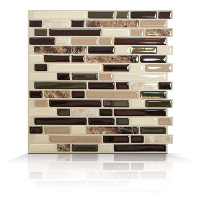 """Peel and Stick """"glass"""" Tiles, no grouting, cuts with snips, no tile cutting needed, water and mold resistant"""
