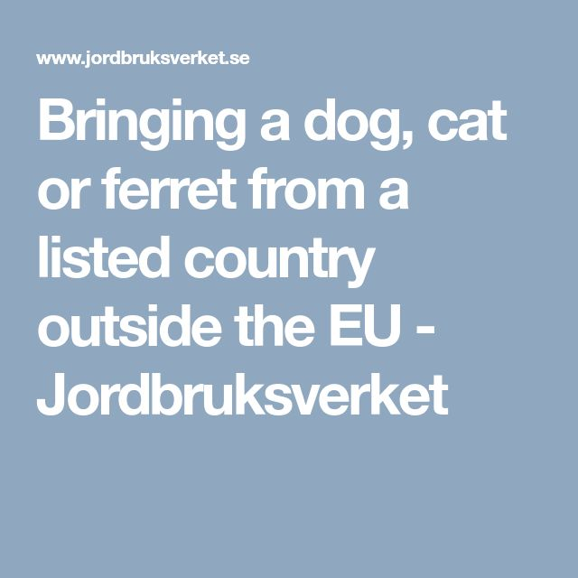 Bringing a dog, cat or ferret from a listed country outside the EU 	 		- Jordbruksverket