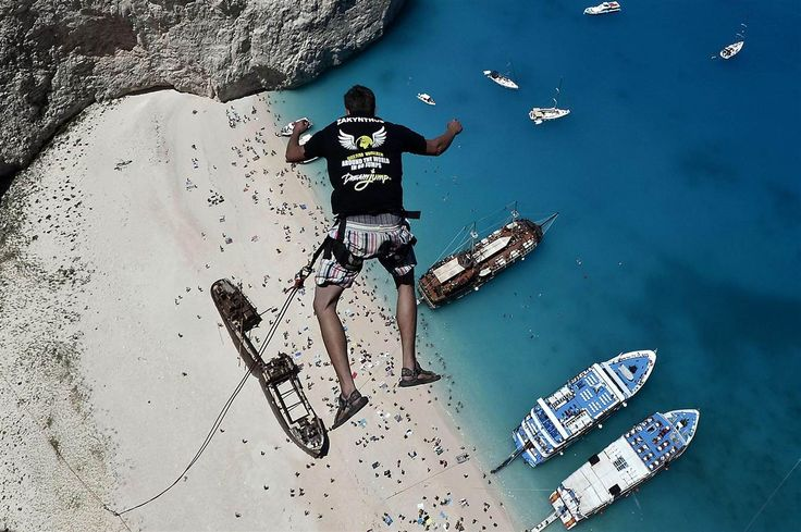 'Dream' or Nightmare? Adventurer Hurtles Toward Greek Beach - A member of the 'Dream Walker' group jumps from atop the rugged rocks overlooking the azure waters of Navagio beach, one of Greece's most picturesque... : NBC News - 8/19/14   #ropejumping
