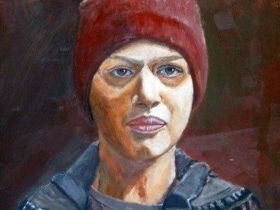 Young Jamie Grant, working her way up to the top of the Dutch TV and film scene. Acrylic on paper