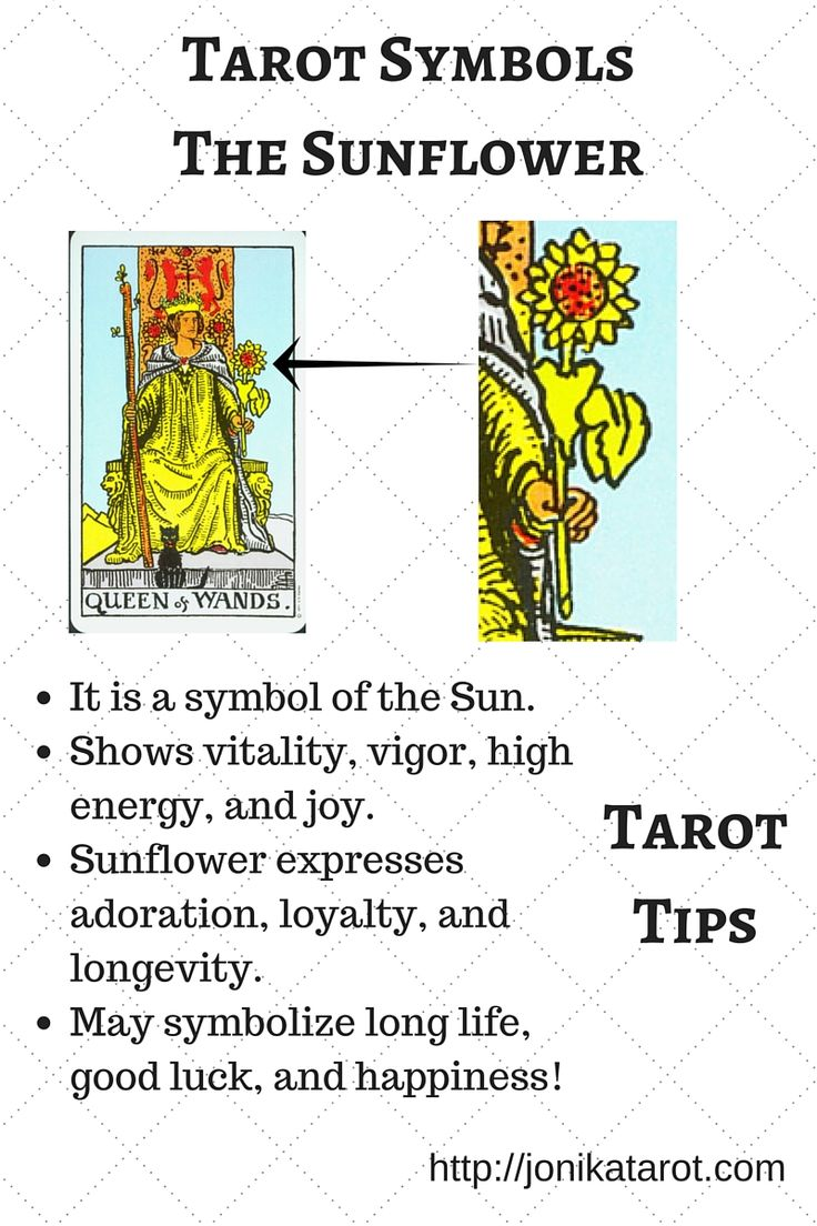 #Tarot #Tips, Tarot Symbolism - The Sunflower. Which Tarot cards have a sunflower on them? Write your answers in the comments below! Pin it! http://jonikatarot.com