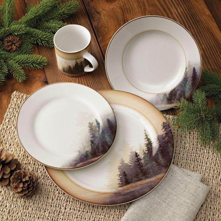 Rustic Wildlife Dinnerware Sets with Moose & Bear Designs