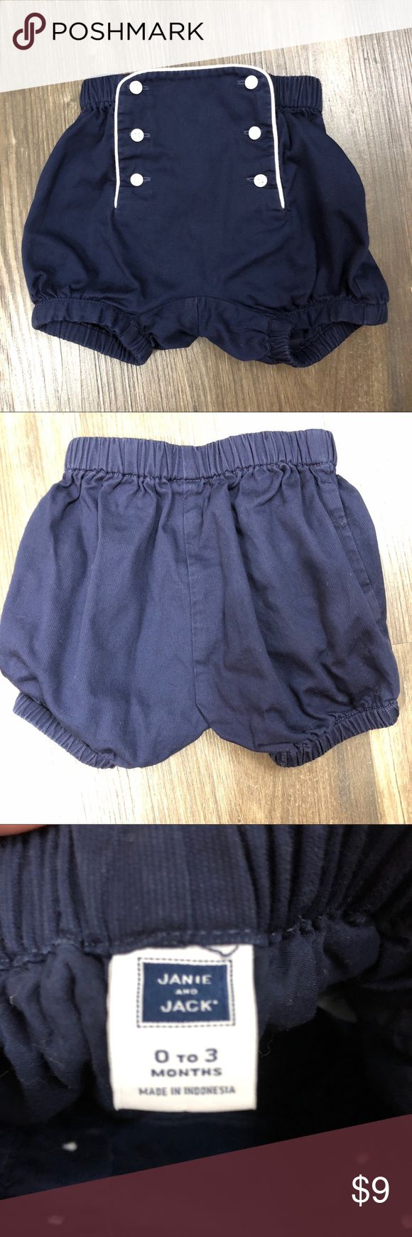 Janie and Jack navy and white sailor shorts Darling Janie and Jack navy and white sailor shorts. Very good preloved condition, very minor fading from washing. Janie and Jack Bottoms Shorts