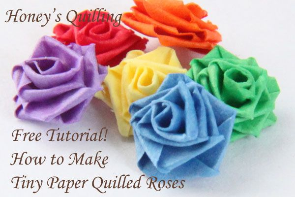 Learn how to make a TINY paper quilled rose, great for so many projects! - Honey's Quilling