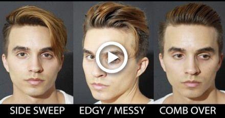 3 Quick & Easy Hairstyles for Medium Hair + Mens hair 2016