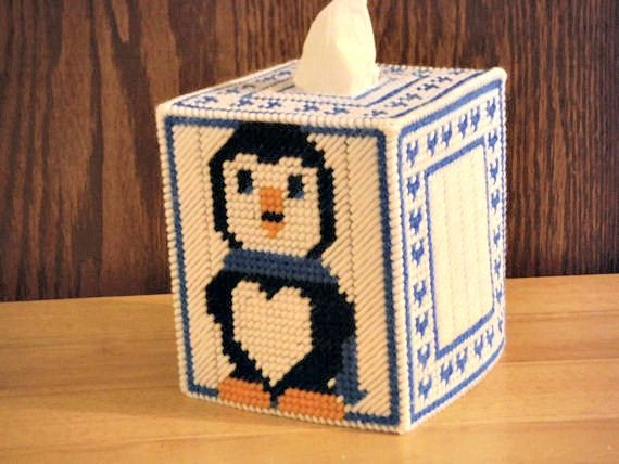 Penguin Tissue Box Cover Plastic Canvas Animal by ShanaysCreation