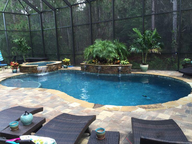 Custom Pool Spa Screen Enclosure By Poolside Designs Swimming Pools Inground Pinterest