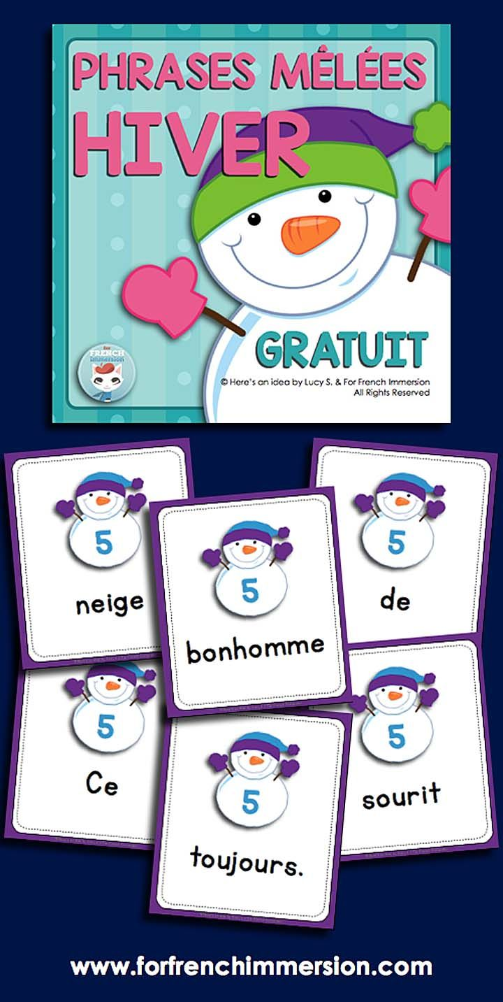 French winter literacy center: phrases mêlées – HIVER. Kids will love unscrambling sentences to improve their reading skills!